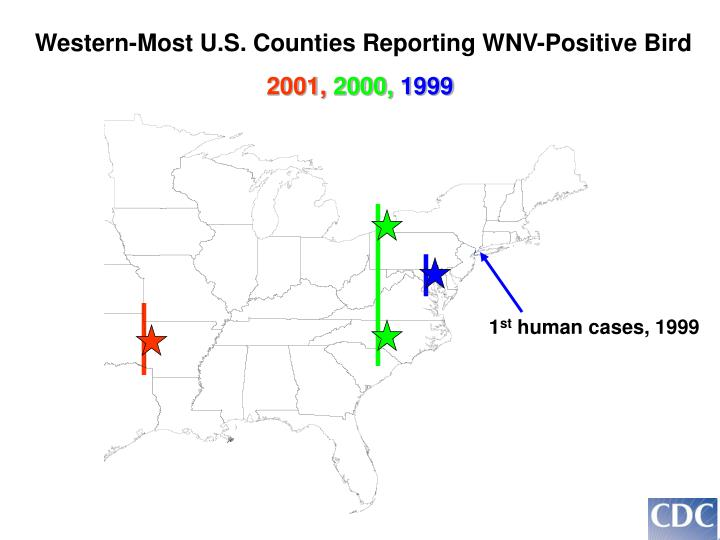 Western-Most U.S. Counties Reporting WNV-Positive Bird