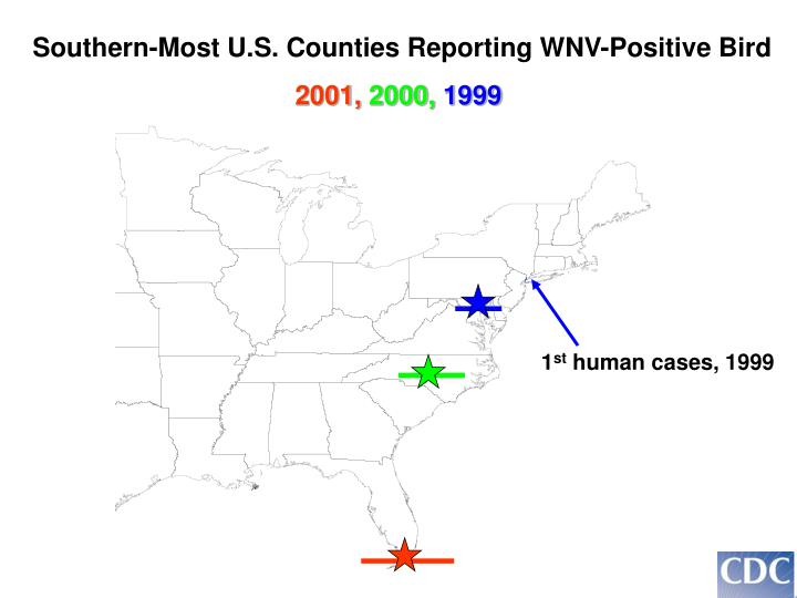 Southern-Most U.S. Counties Reporting WNV-Positive Bird