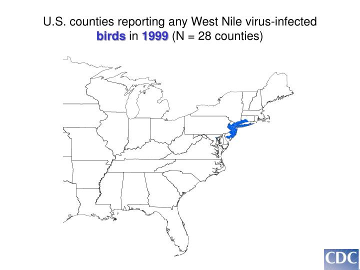 U.S. counties reporting any West Nile virus-infected