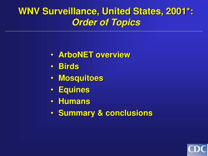 WNV Surveillance, United States, 2001*: