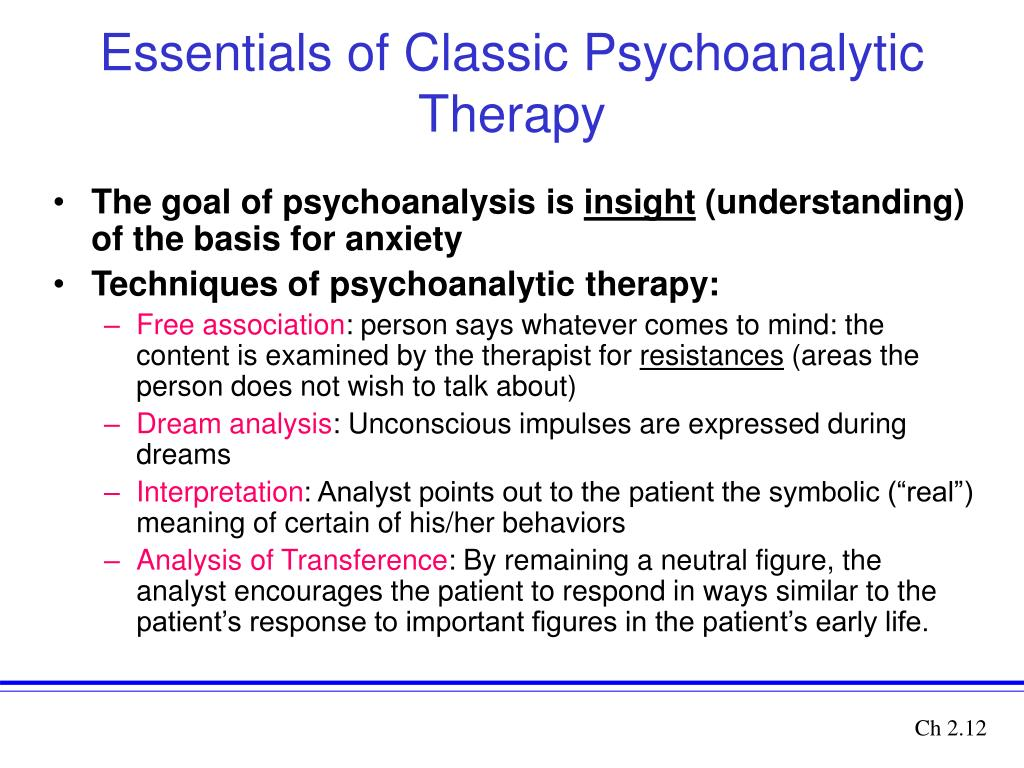 an analysis of freuds methods of psychoanalysis Psychoanalytic therapy has many techniques this lesson will explore four of these techniques: free association, dream analysis, and the analysis.