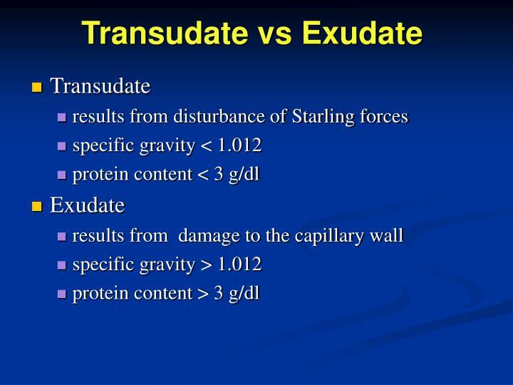 Transudate vs Exudate