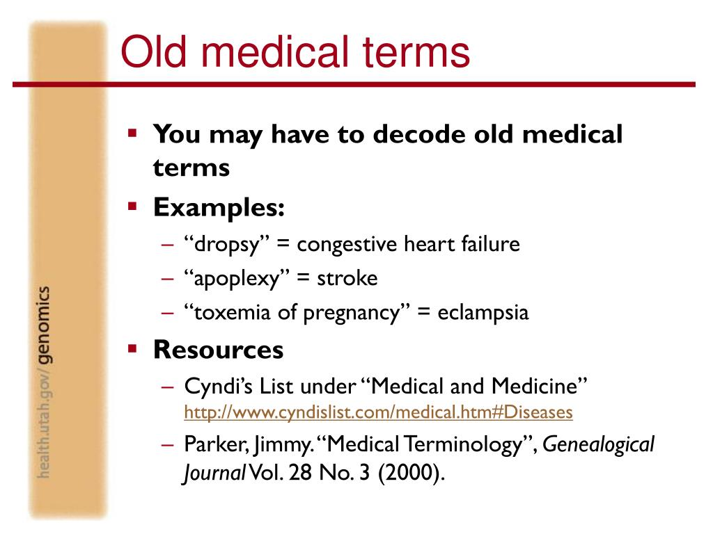 Old medical terms