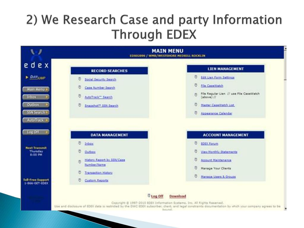 2) We Research Case and party Information