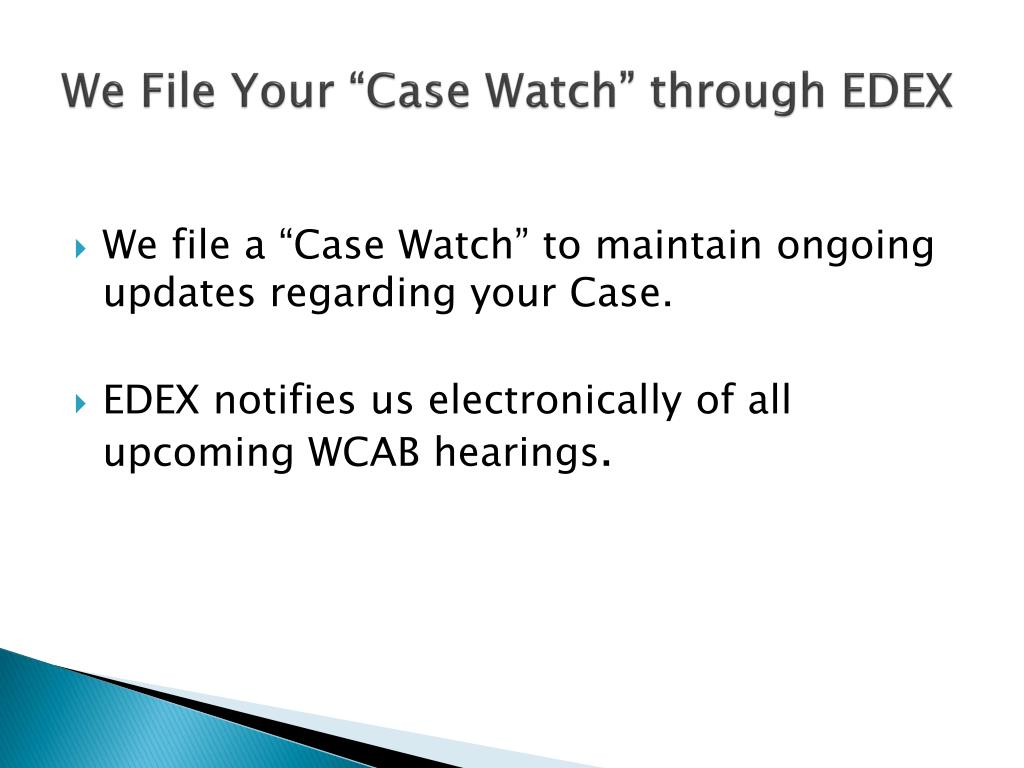 "We File Your ""Case Watch"" through EDEX"