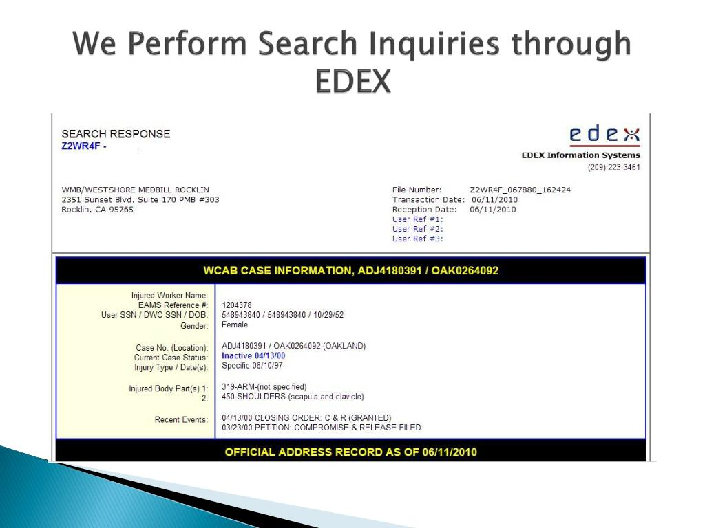 We Perform Search Inquiries through EDEX