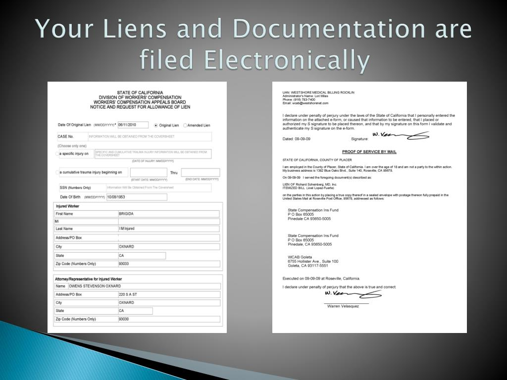 Your Liens and Documentation are