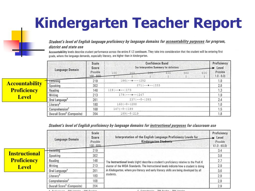 Kindergarten Teacher Report