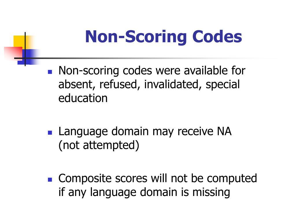 Non-Scoring Codes