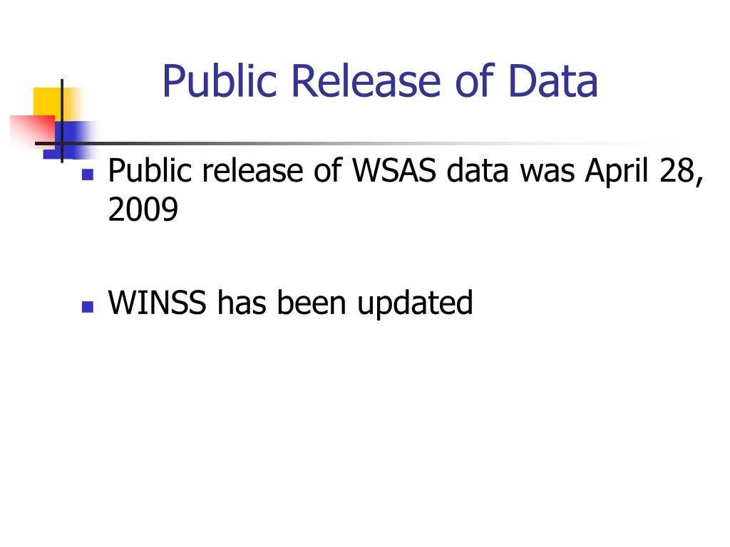 Public Release of Data