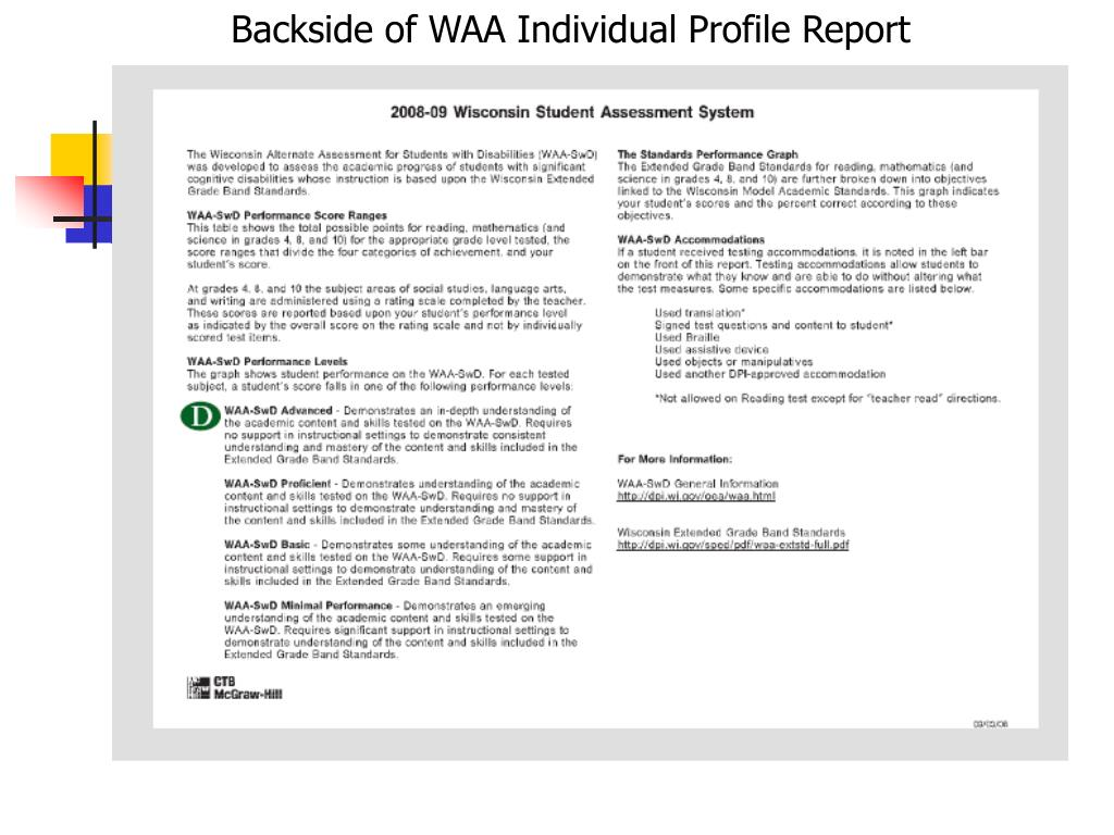 Backside of WAA Individual Profile Report
