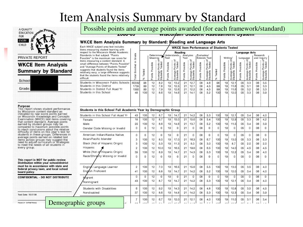 Item Analysis Summary by Standard