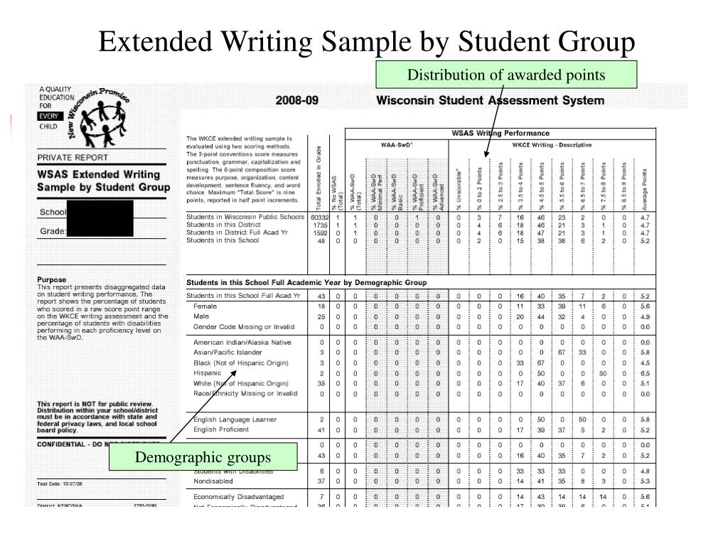 Extended Writing Sample by Student Group