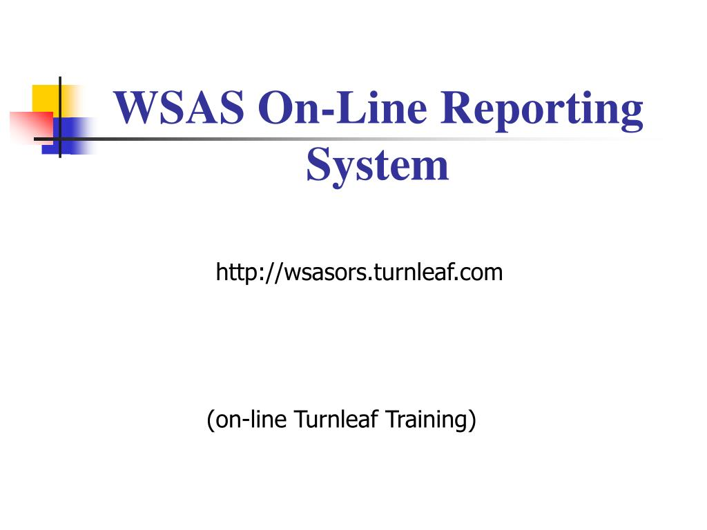 WSAS On-Line Reporting System