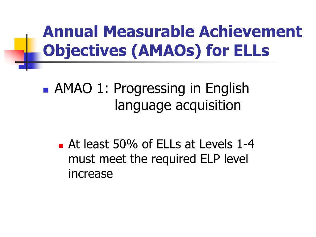 Annual Measurable Achievement Objectives (AMAOs) for ELLs