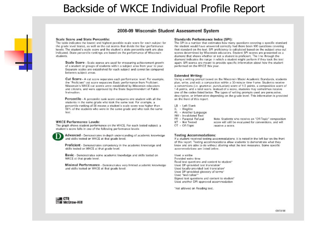 Backside of WKCE Individual Profile Report