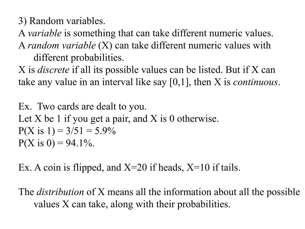 3) Random variables.