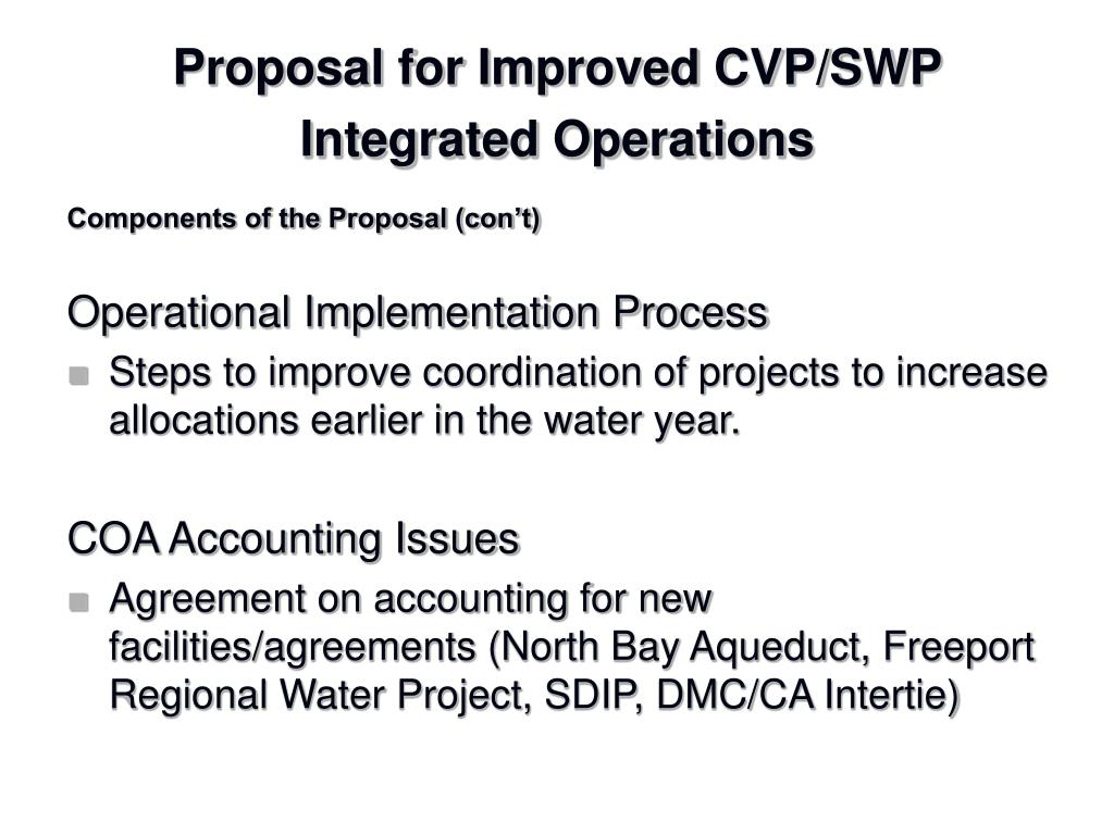 Proposal for Improved CVP/SWP Integrated Operations