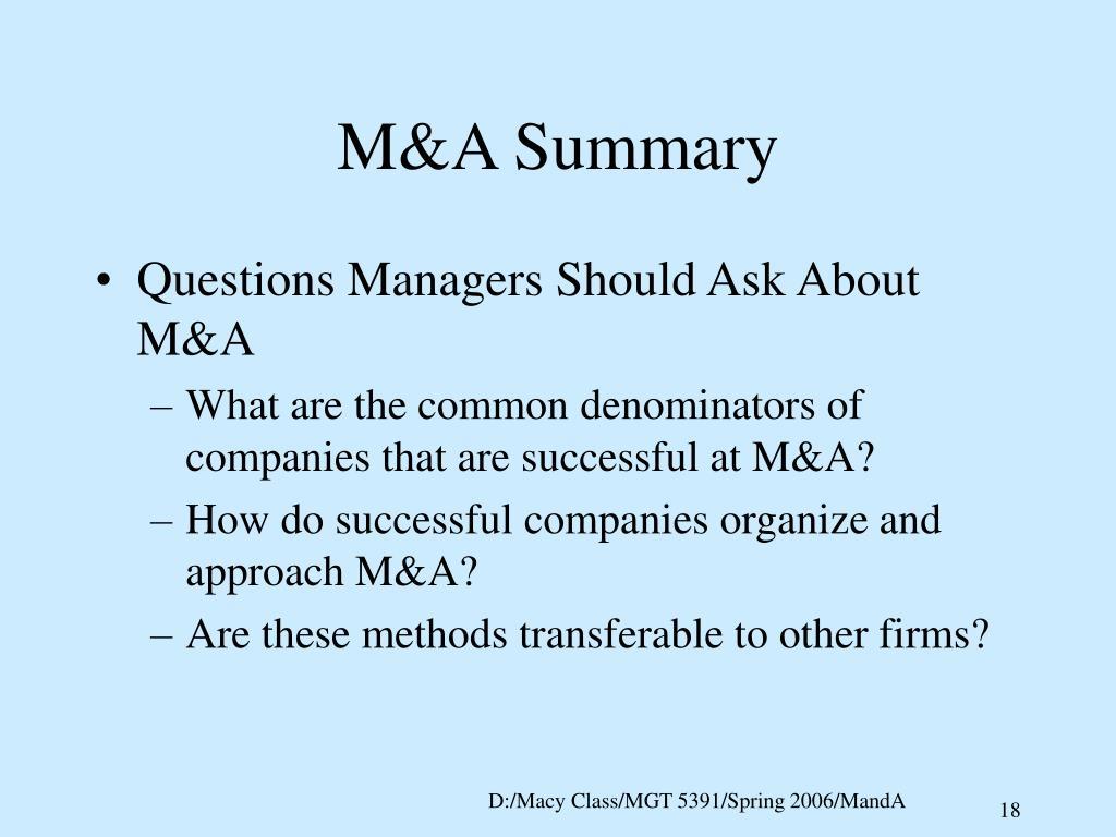 M&A Summary