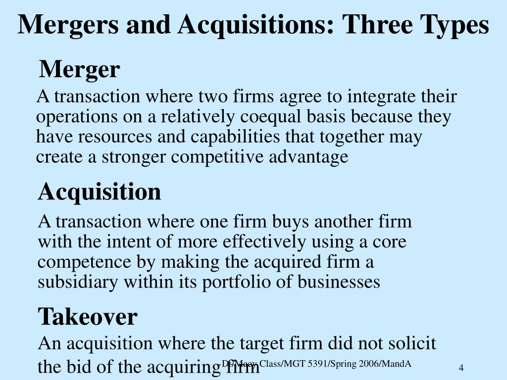 Mergers and Acquisitions: Three Types
