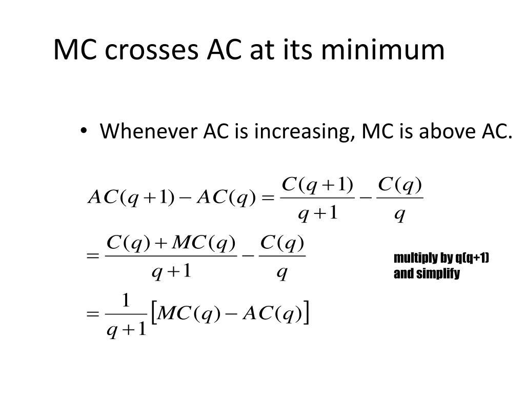 MC crosses AC at its minimum