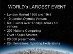 world s largest event