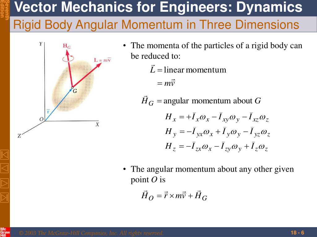 The momenta of the particles of a rigid body can be reduced to: