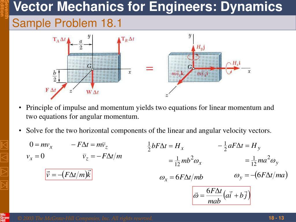 Principle of impulse and momentum yields two equations for linear momentum and two equations for angular momentum.