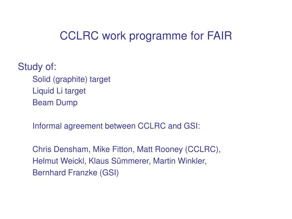 CCLRC work programme for FAIR