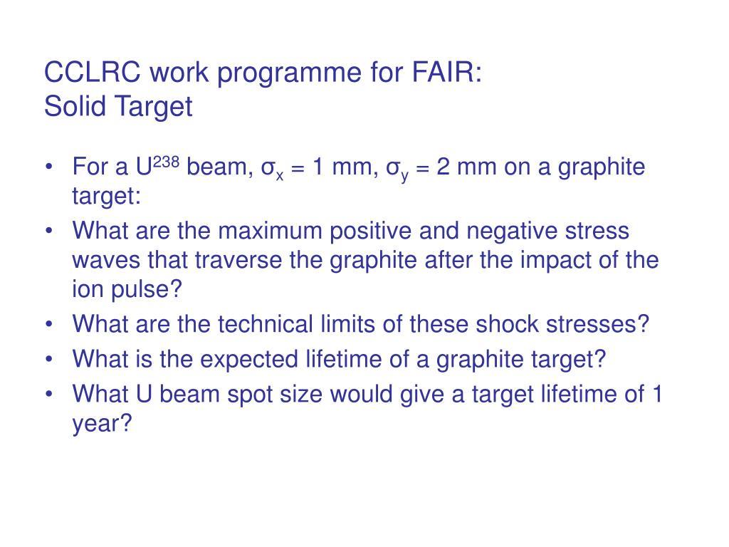 CCLRC work programme for FAIR: