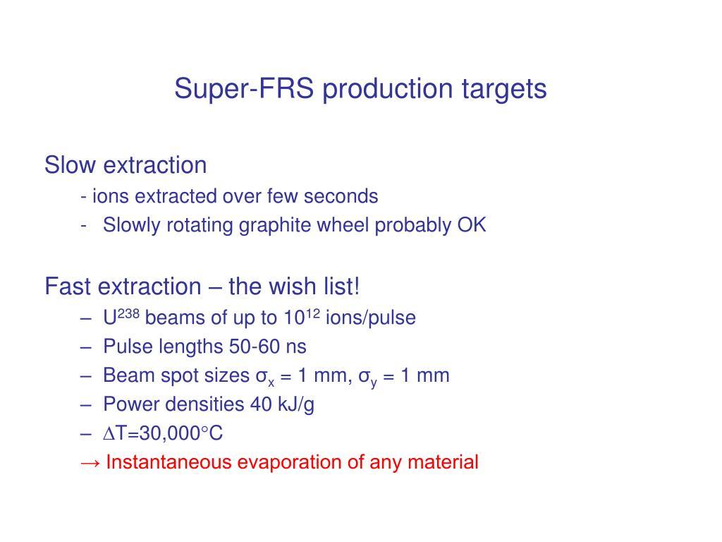 Super-FRS production targets