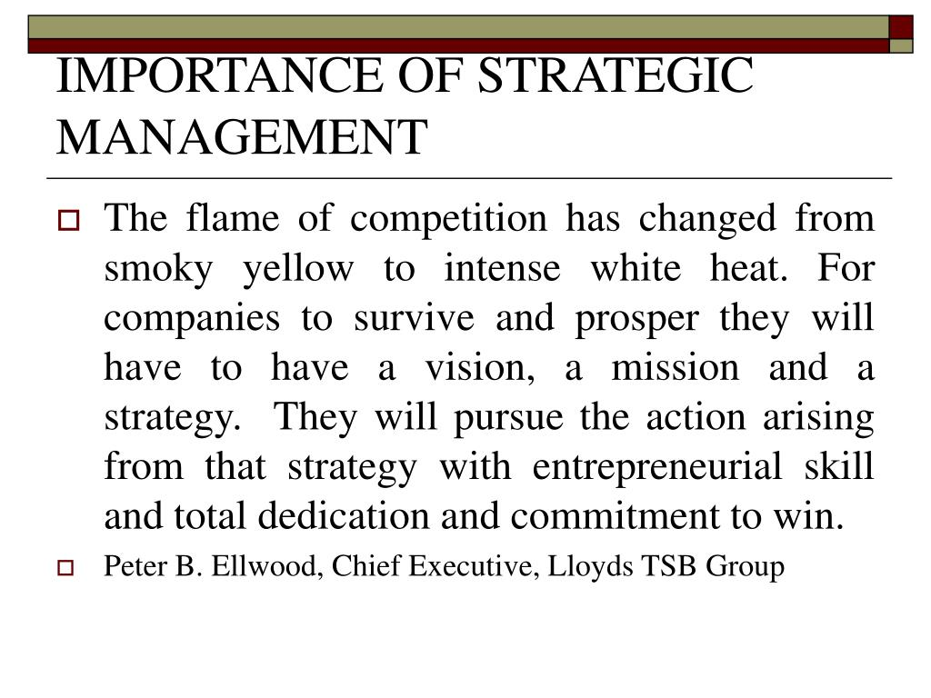 importance of strategic management The importance of strategic financial leadership in the uk public sector in a time of financial austerity malcolm prowle, don harradine, roger latham.