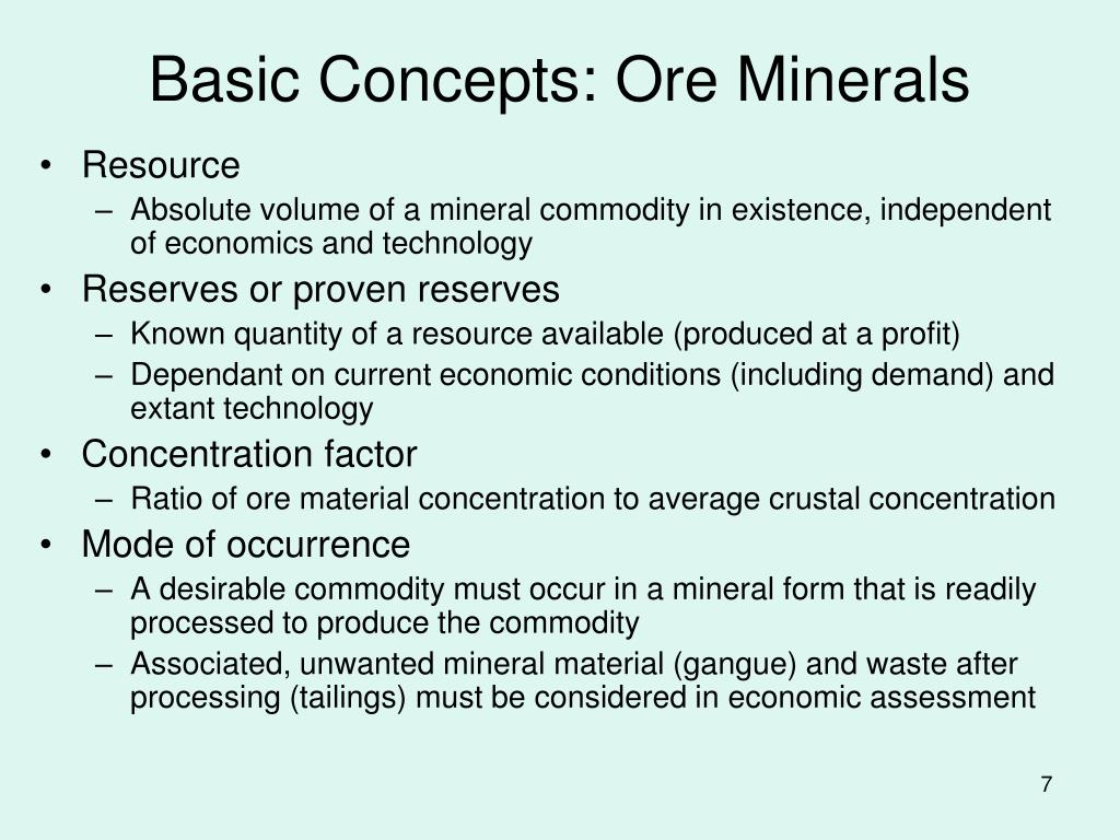 Basic Concepts: Ore Minerals