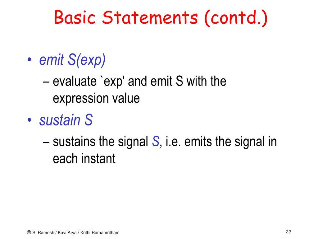 Basic Statements (contd.)