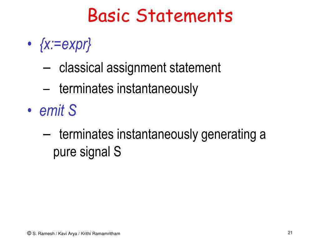 Basic Statements