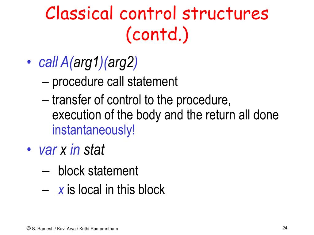 Classical control structures (contd.)