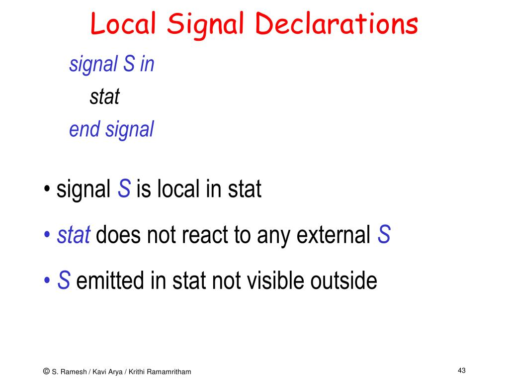 Local Signal Declarations