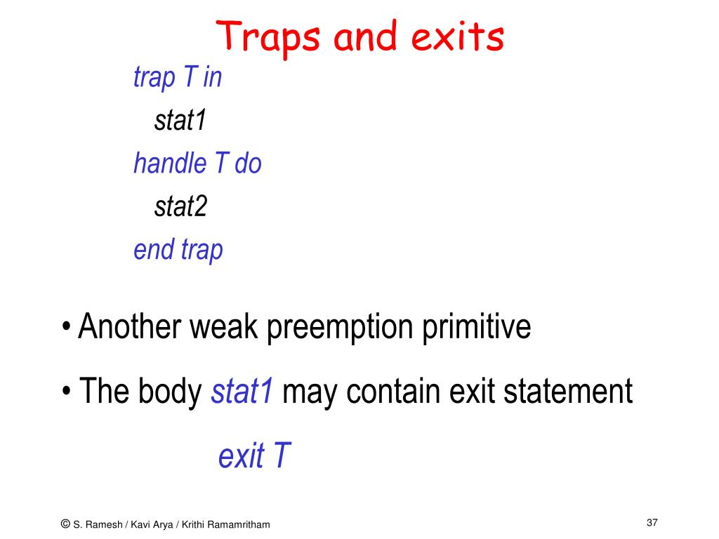 Traps and exits