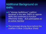 additional background on ahps
