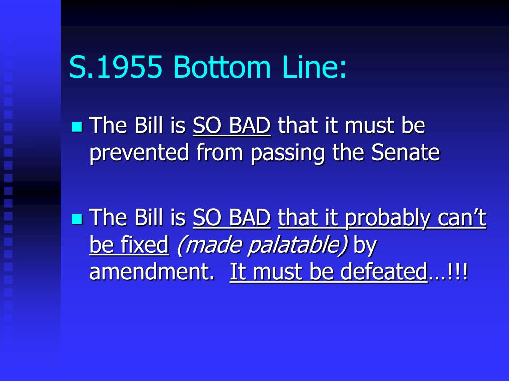 S.1955 Bottom Line: