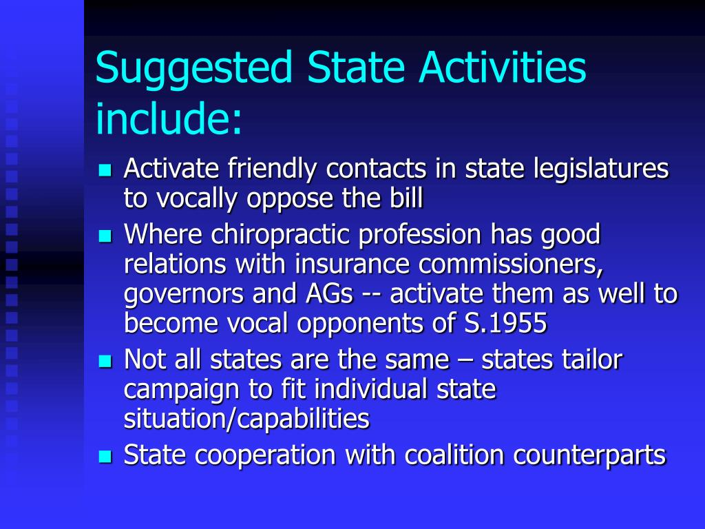 Suggested State Activities include: