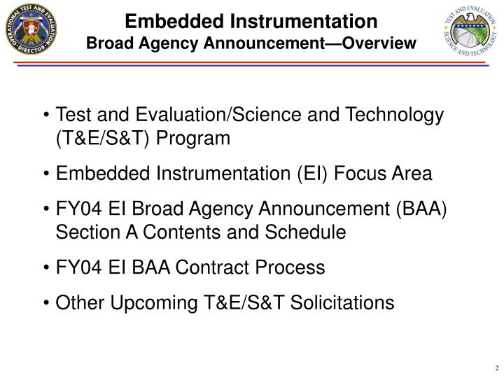 Embedded instrumentation broad agency announcement overview