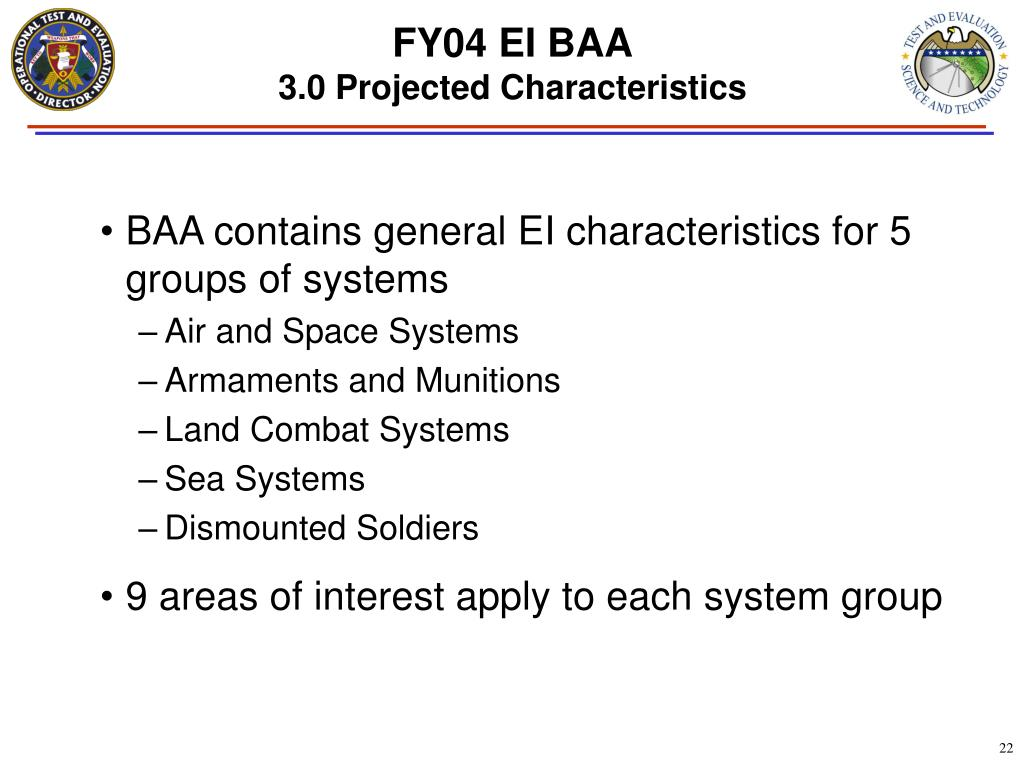 BAA contains general EI characteristics for 5 groups of systems