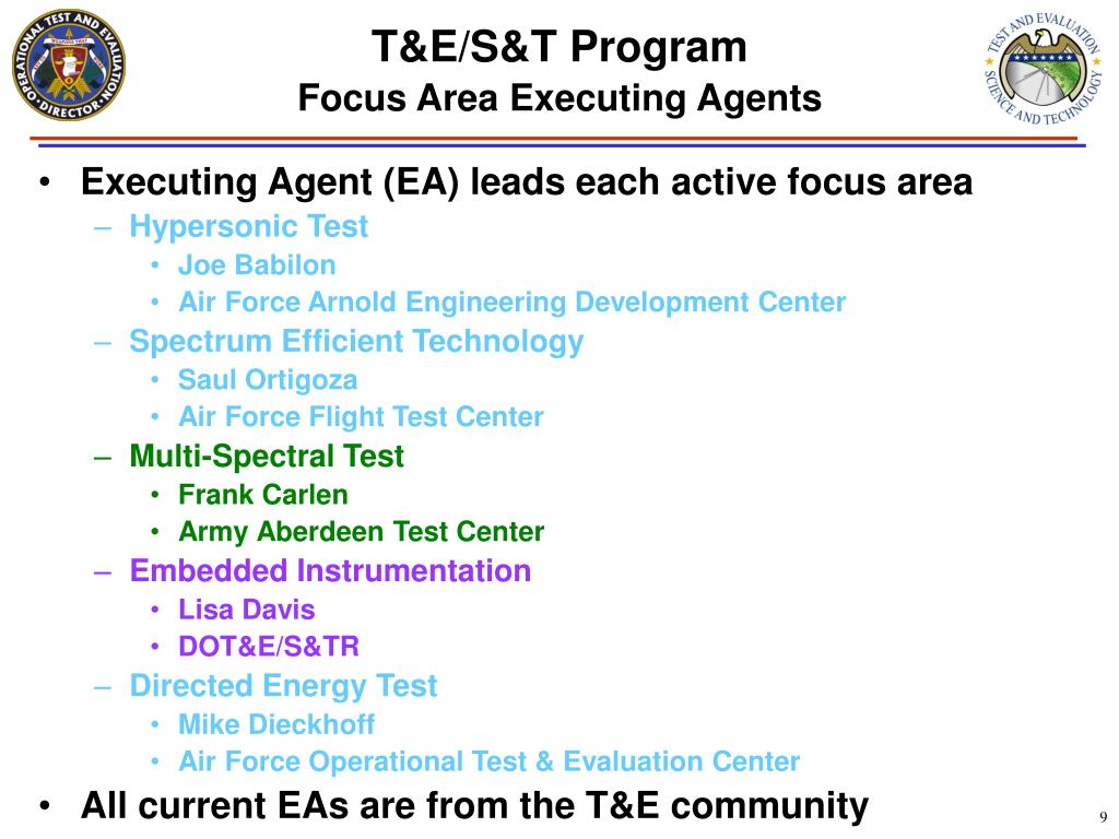 Executing Agent (EA) leads each active focus area