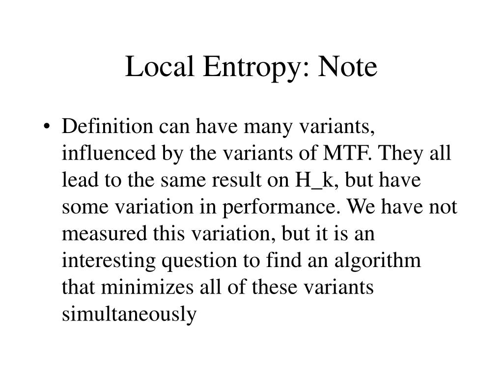Local Entropy: Note