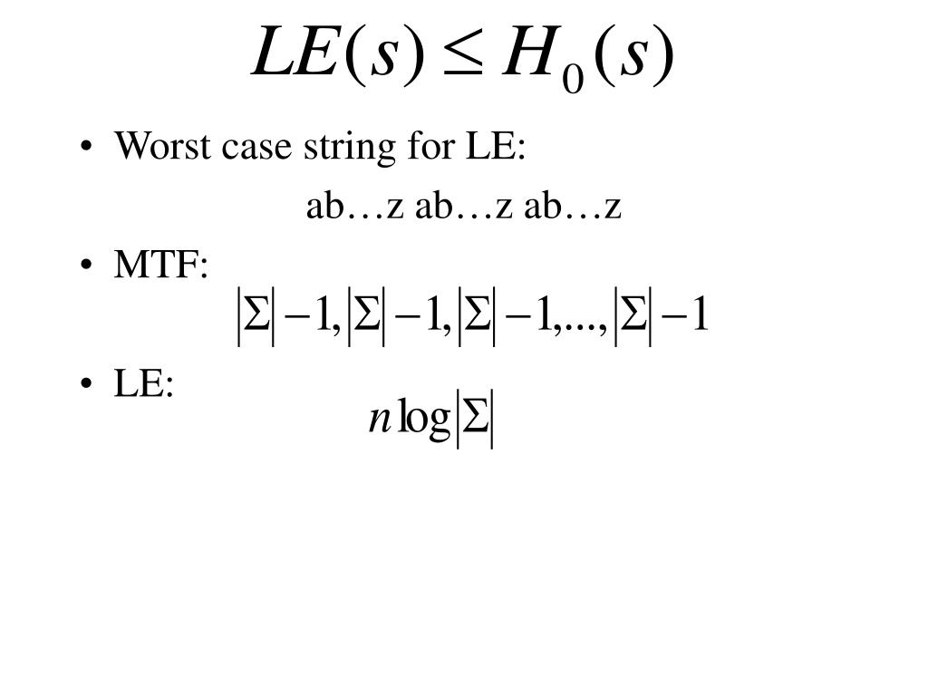 Worst case string for LE: