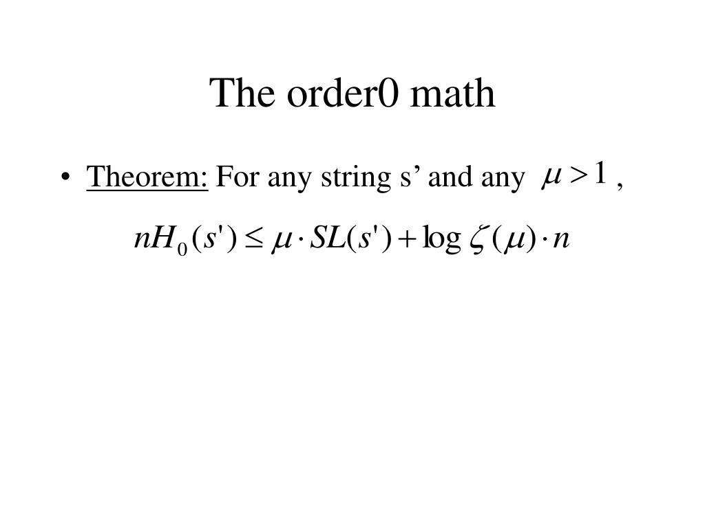 The order0 math