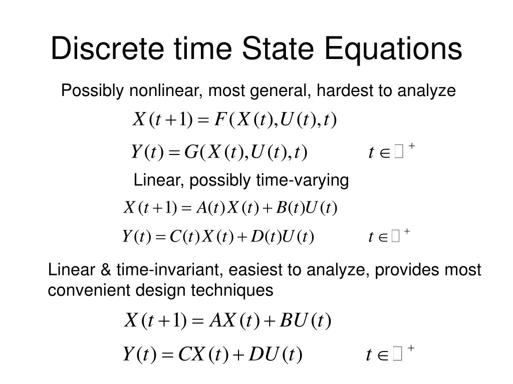 Discrete time State Equations