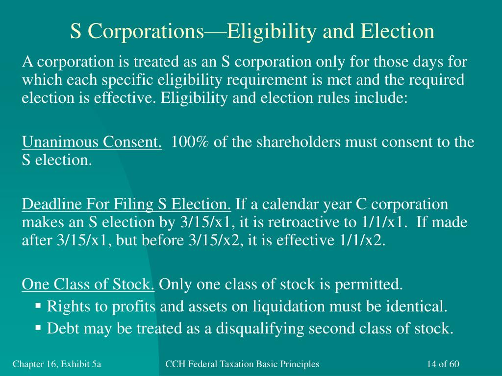 S Corporations—Eligibility and Election
