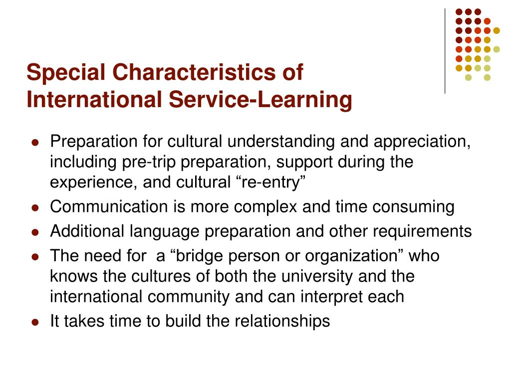 Special Characteristics of International Service-Learning